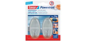 Klebehaken Power Strips oval chrom TESA 58050-00012-01 4 Streifen + 2 Haken Produktbild