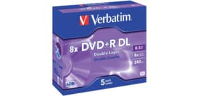 DVD+R DL im Jewelcase 5er Pack inkl. URA VERBATIM VER43541 8,5Gb 240Min Produktbild