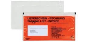 Begleitpapiertasche DIN lang rot 202 Druck Lieferschein/Rechnung 250Stück Produktbild