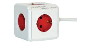 Verteilersteckdose 5fach weiß/rot MEDIA RANGE P50450 PowercubeE Produktbild