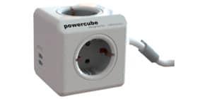 Verteilersteckdose 4fach+2USB silber MEDIA RANGE P50455 PowercubeE Produktbild