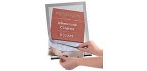 Prospekttasche A4 2ST silber Q-CONNECT KF22351 Magnetrahm Produktbild