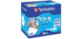 CD-R im Jewelcase 10er Pack inkl. URA VERBATIM VER43325 700Mb 80Min Produktbild