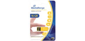 USB Stick 2,0 ClipOn gelb inkl. URA MEDIARANGE MR976 16GB Produktbild