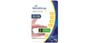 USB Stick 2,0 ClipOn grün inkl. URA MEDIARANGE MR977 32GB Produktbild