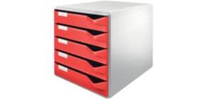 Schubladenbox 5 Laden rot LEITZ 5280-00-25 Produktbild
