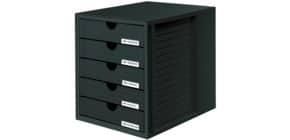 Schubladenbox schwarz HAN 1450-13 5 geschlossene Schuebe Produktbild