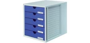 Schubladenbox grau/blau HAN 1450-14 5 geschlossene Schuebe Produktbild