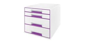Schubladenbox WOW CUBE violett metallic LEITZ 5213-20-62 4 Schubladen Produktbild