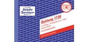 Quittung A6/2x40BL SD ZWECKFORM 1736 o,Mwst,Nachw, Produktbild