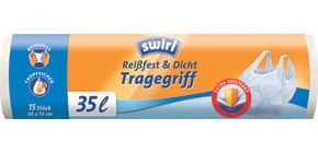 Müllsack 35 Liter weiß 15 Stück SWIRL 3630158002 mit Tragegriff Produktbild