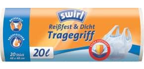 Müllsack 20 Liter weiß 20 Stück SWIRL 3630137005 mit Tragegriff Produktbild