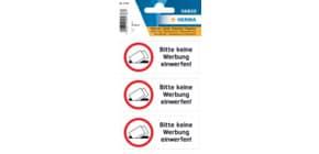 Hinweisetiketten Text Keine Werbung HERMA 5738 wetterfest 3 Stück Produktbild