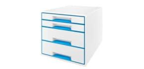 Schubladenbox WOW CUBE blau metallic LEITZ 5213-20-36 4 Schubladen Produktbild