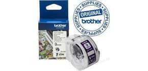 Rollenetiketten 9 mm weiß violett BROTHER CZ1001 Produktbild