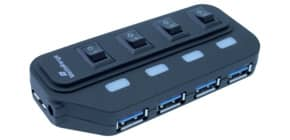 USB-Hub 3.0 1:4 weiß/schwarz MEDIA RANGE MRCS505 Produktbild
