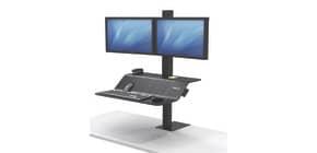 Bildschirmträger Sitz/Steh schwarz FELLOWES FW8082001 für2Monitore Produktbild