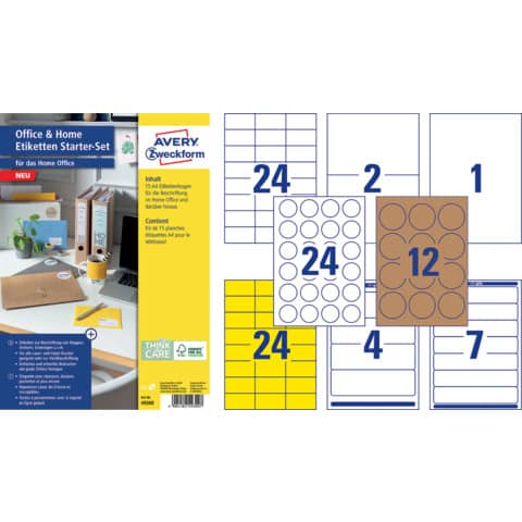 Universaletiketten Office&Home sortiert AVERY ZWECKFOM 49300 Produktbild Einzelbild 2 XL
