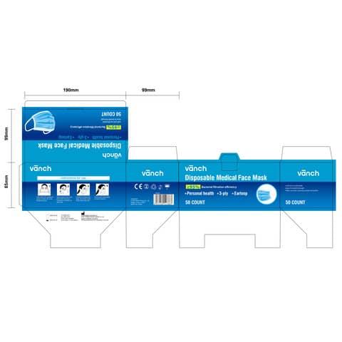Mund- und Nasenschutzmaske  blau/weiß VANCH KZ001 BFE95% EN14683 Produktbild Einzelbild 4 XL