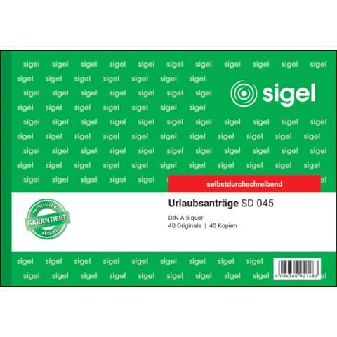 Urlaubsantrag A5/2x40BL SIGEL SD045 Produktbild Einzelbild 2 XL