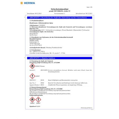 Etikettenlöser 200ml HERMA 1266 Dose blau Produktbild Sicherheitsdatenblatt XL
