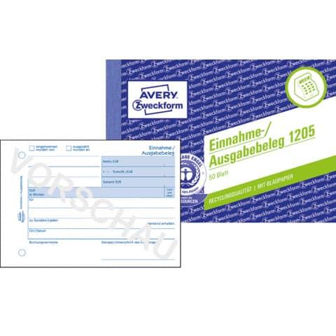 Einnahme/Ausgabebeleg A6 50BL ZWECKFORM 1205 recycling Produktbild Einzelbild 2 XL