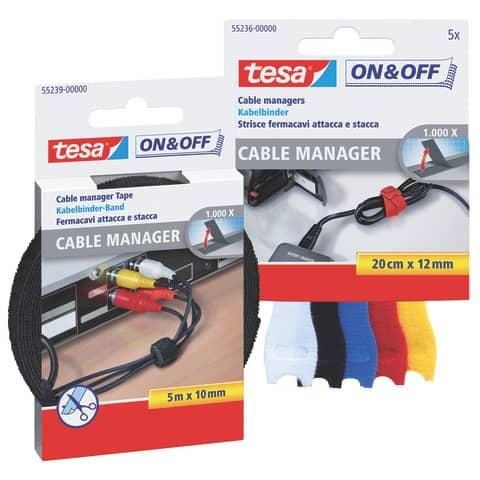 Klettband Velcro Kabelbinder TESA 55236-00000-01 small 5 Stück Produktbild Stammartikelabbildung XL