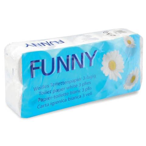 Toilettenpapier 3-lag.8RL weiß FUNNY AG-014(P) Top-Qualität Produktbild