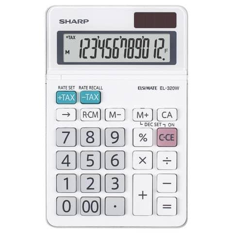 Tischrechner 12-stellig weiß SHARP SH-EL320W Produktbild