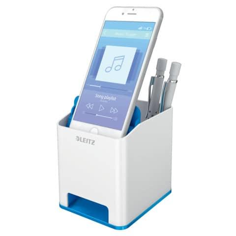 Stifteköcher WOW Sound weiß/blau met. LEITZ 5363-10-36 Duo Colour Produktbild Anwendungsdarstellung XL