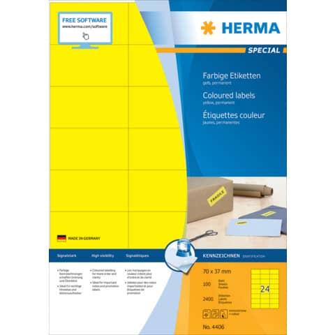 Universaletiketten 70x37 gelb HERMA 4406 100 Blatt Produktbild