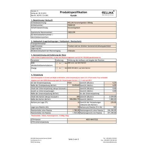 Karamellgebäck 300x 6g HELLMA 70000105 Produktbild Lebensmittelinformation XL