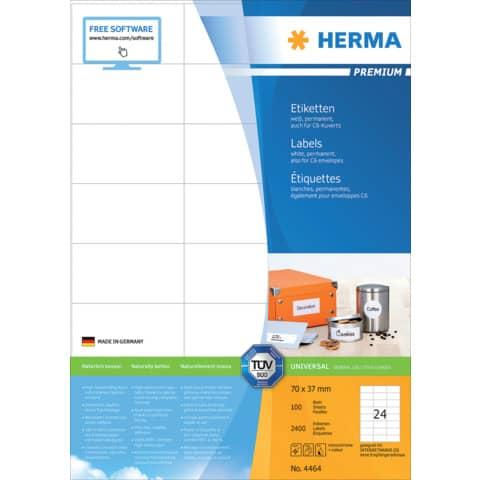 Universaletiketten 70x37mm weiß HERMA 4464 2400 Stück permanent haftend Produktbild