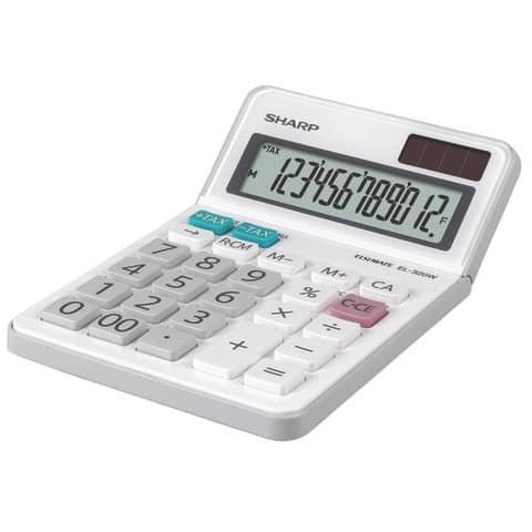Tischrechner 12-stellig weiß SHARP SH-EL320W Produktbild Einzelbild 2 XL