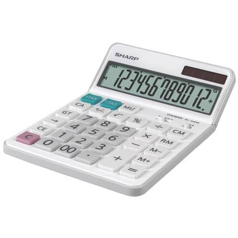 Tischrechner 12-stellig weiß SHARP SH-EL340W DualPower Produktbild Einzelbild 3 XL
