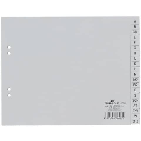 Register Plastik A-Z blanko 20tlg. grau DURABLE 6500 10 teildeckend geprägt Produktbild
