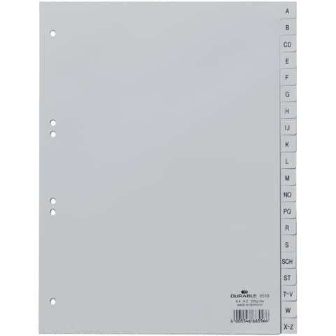 Register Plastik A-Z blanko 20tlg. grau DURABLE 6510 10 geprägte Taben Produktbild