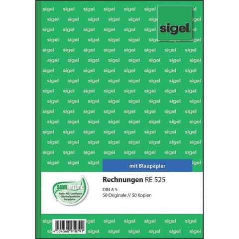 Rechnung A5 hoch, 2x50 Blatt SIGEL RE525 Produktbild