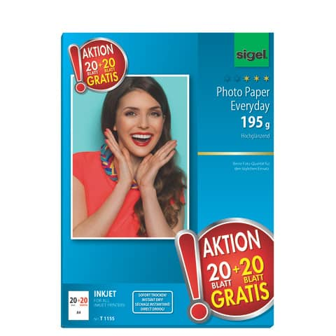 Inkjet Fotopapier 20+20 Blatt weiß SIGEL T1155 A4 Produktbild Einzelbild 2 XL