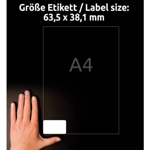 Adressetiketten 63,5x38,1mm weiß AVERY ZWECKFORM 7160-10 10 Blatt Produktbild Detaildarstellung 8 XL