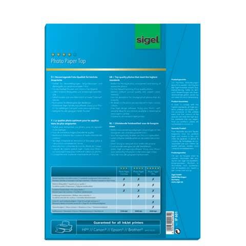 Inkjet Fotopapier A4 50 Blatt glossy SIGEL IP601 170g Produktbild Einzelbild 1 XL