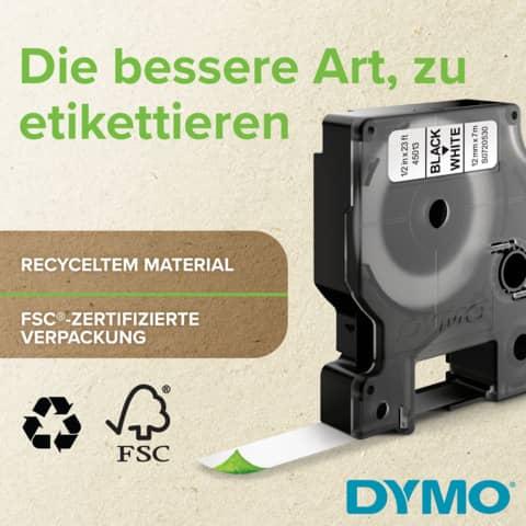 Schriftband 12mmx7m schw/weiß DYMO S0720530 45013 Produktbild Anwendungsdarstellung 2 XL