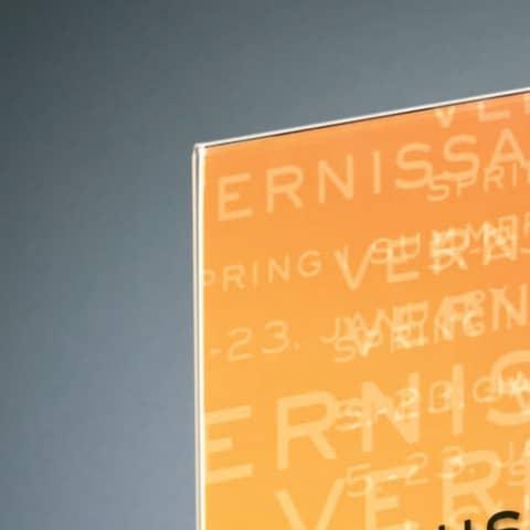Tischaufsteller DIN lang glaskar Acryl SIGEL TA224 gerade Standfüße Produktbild Detaildarstellung 2 XL