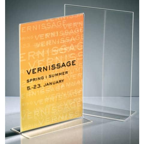 Tischaufsteller A4 hoch glasklar Acryl SIGEL TA220 gerade Standfüße Produktbild