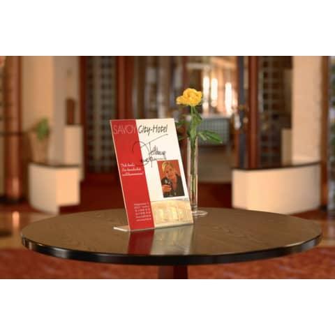 Tischaufsteller A5 hoch glasklar Acryl SIGEL TA212 schräg Produktbild Produktabbildung aufbereitet 2 XL