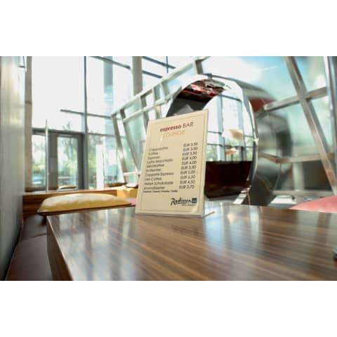 Tischaufsteller A5 hoch glasklar Acryl SIGEL TA212 schräg Produktbild Produktabbildung aufbereitet XL