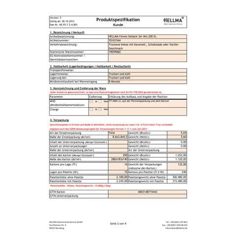 Konferenzgebäck 3er Mix HELLMA 70101544 200x5,6g Produktbild Lebensmittelinformation XL