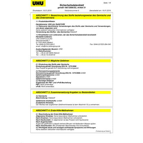 Klebestift stic 40g ReNature UHU 47 ReNATURE Produktbild Sicherheitsdatenblatt XL