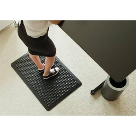 Bodenschutzmatte 60x90cm schwarz ERGONOP EN-6090 mit Noppen Produktbild Anwendungsdarstellung XL