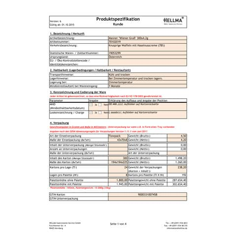 Waffeln 300ST je 4,2g MANNER 70102019 WienerGruß Produktbild Lebensmittelinformation XL